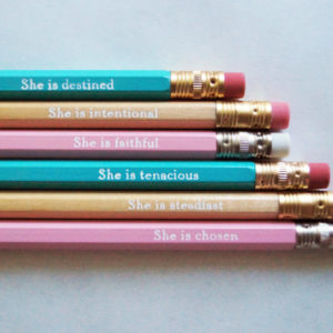 """Looking for a set of motivational pencils with an inspiring Christian theme? Check out this inspiring """"SHE IS"""" pencil set!"""