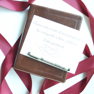 Looking for a personalized wedding Bible to use as a guest book at your upcoming wedding? This personalized wedding Bible is one of our best sellers and comes in the NKJV.