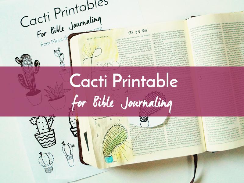 cacti bible journaling printable listing