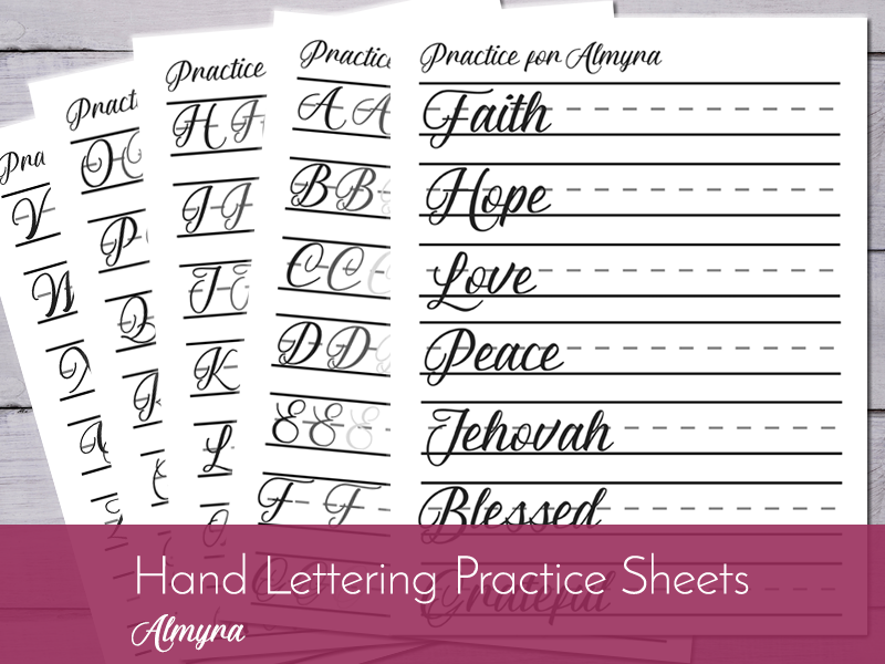 photograph regarding Printable Calligraphy Practice Sheets referred to as Lettering Coach Sheets - Almyra