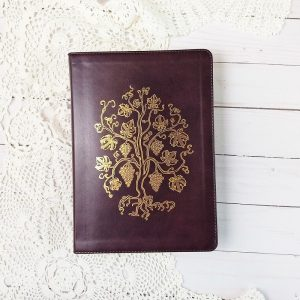 Looking for a large print journaling Bible? Check out this soft, beautiful ESV large font journaling Bible with golden grapevines on the cover.