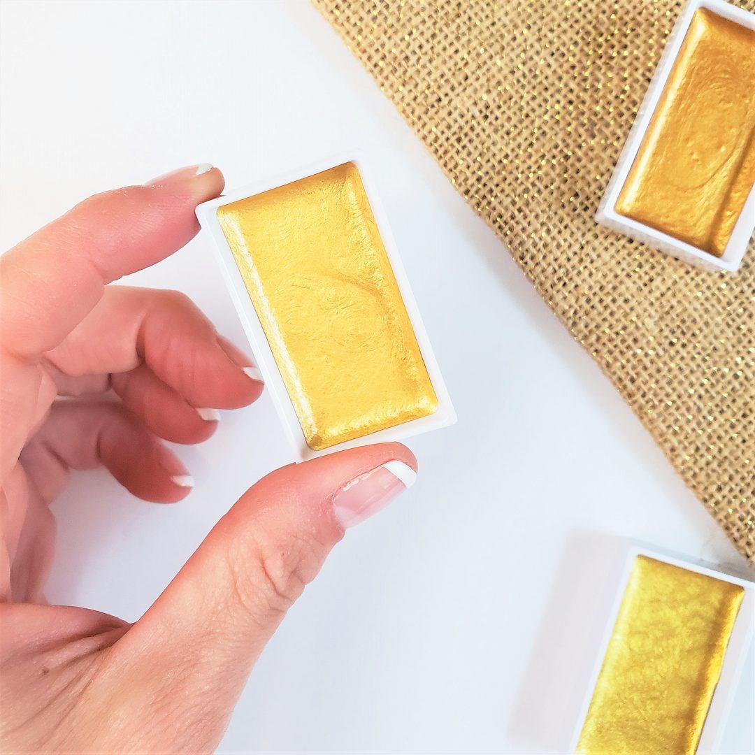close up metallic watercolors gold